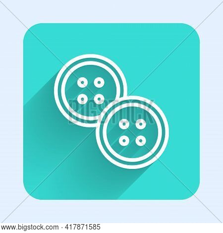 White Line Sewing Button For Clothes Icon Isolated With Long Shadow. Clothing Button. Green Square B