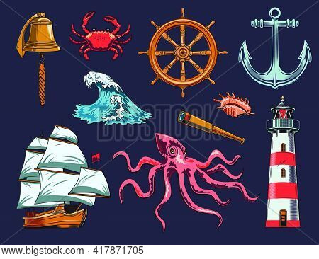 Maritime And Nautical Elements Illustration Set. Vintage Design With Sea Animals, Ship, Wave, Anchor