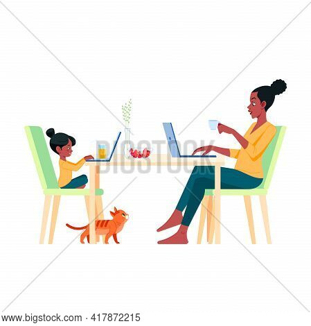 African American Family Mother And Daughter Sitting At Desk And Working On Computer At Home. Female