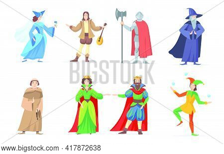 Set Of Medieval Cartoon Characters In Historical Costumes. Flat Vector Illustration. Fantasy King, Q