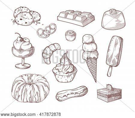 Sweet Desserts Sugar Food Sketch Set. Cake, Ice-cream, Chocolate Bar, Croissant, Pudding, Cupcake, E