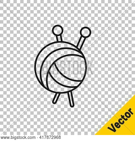 Black Line Yarn Ball With Knitting Needles Icon Isolated On Transparent Background. Label For Hand M