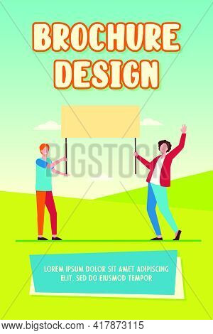 Two Guys Holding Empty Banner And Smiling. Protest, Opinion, Picket Flat Vector Illustration. Demons