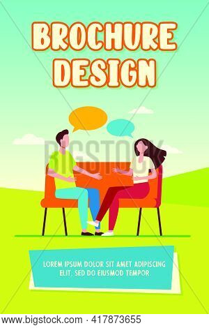 Young Couple Arguing At Home. Man And Woman Sitting On Couch And Talking Flat Vector Illustration. C