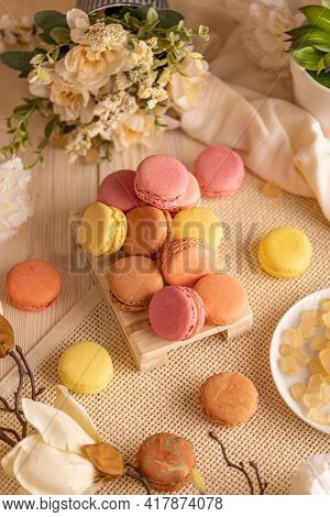 French Macaron Assortment On Pastel Still Life Compopsition