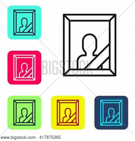 Black Line Mourning Photo Frame With Black Ribbon Icon Isolated On White Background. Funeral Ceremon