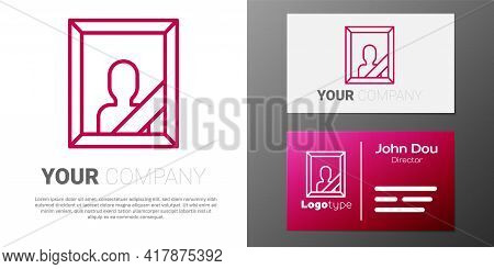 Logotype Line Mourning Photo Frame With Black Ribbon Icon Isolated On White Background. Funeral Cere