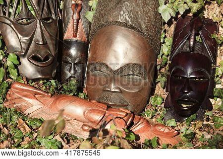 Fagnano Olona (va), Italy - June 30, 2017: African Art And Sculptures Made Of Ebony Wood Carving.