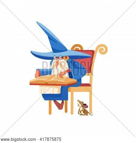 Wizard Reading A Spell Book. Old Medieval Magician Character Studying An Old Book On A Chair. The Al
