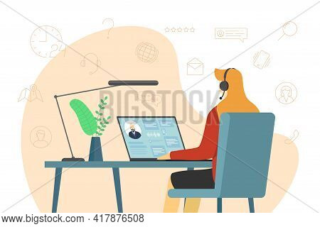 Call Center Operator Woman And Hotline Service Icons. Female Helpline Worker With Headset At Work. O