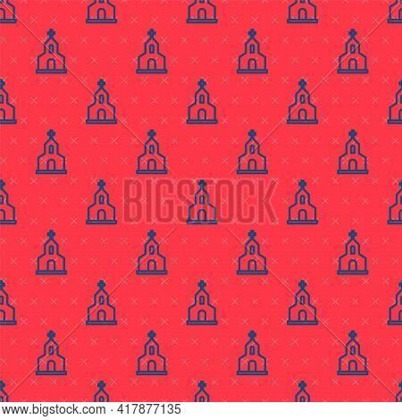 Blue Line Church Building Icon Isolated Seamless Pattern On Red Background. Christian Church. Religi