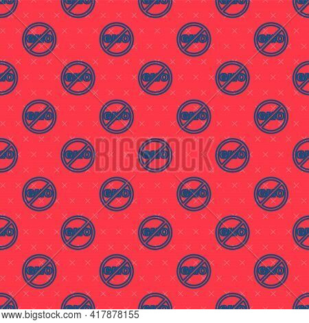 Blue Line No Gmo Icon Isolated Seamless Pattern On Red Background. Genetically Modified Organism Acr