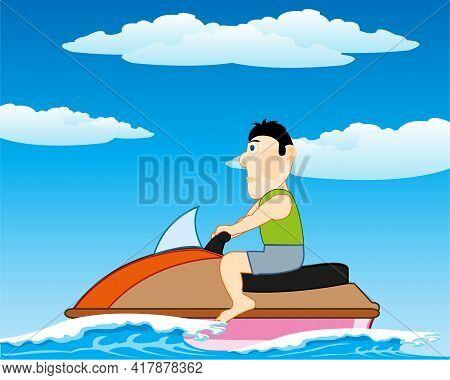 Man Rides On Jetski On Wave Year Daytime