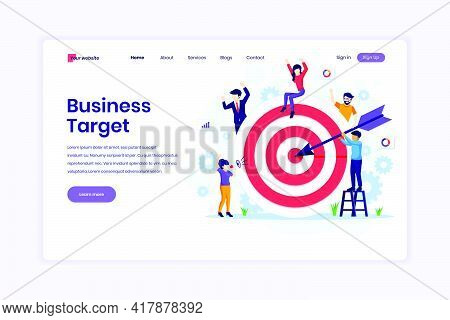 Landing Page Design Concept Of Business Target, People Put Darts On The Dartboard. Target With An Ar