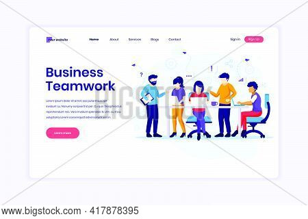 Landing Page Design Concept Of Business Teamwork, People Working In Table Meeting And The Co-working
