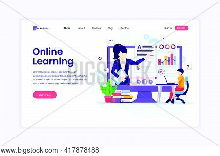 Landing Page Design Concept Of Online Learning, Webinar And Online Education. Student Learning Onlin