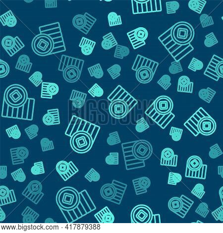Green Line Chinese Yuan Currency Symbol Icon Isolated Seamless Pattern On Blue Background. Coin Mone