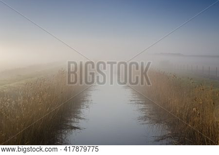 Misty River - A Picturesque Morning Over The Meadows