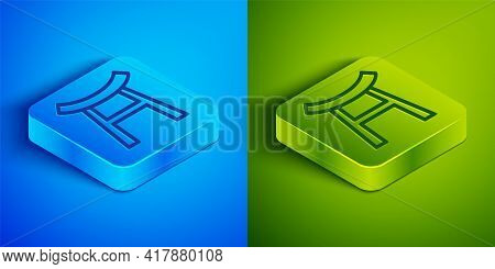 Isometric Line Japan Gate Icon Isolated On Blue And Green Background. Torii Gate Sign. Japanese Trad