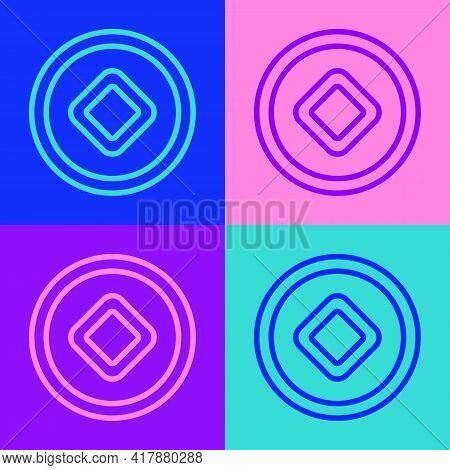 Pop Art Line Chinese Yuan Currency Symbol Icon Isolated On Color Background. Coin Money. Banking Cur