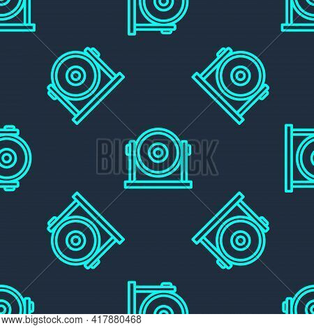 Green Line Gong Musical Percussion Instrument Circular Metal Disc Icon Isolated Seamless Pattern On
