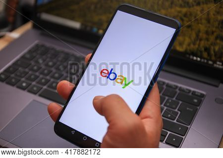 Berlin, Germany - April 22, 2021: Ebay Logo Displayed On Smartphone. Ebay Is An Online Shopping Site