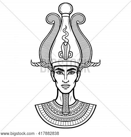 Animation Portrait Egyptian Man N The Crown. Vector Illustration Isolated On A White Background. Pri