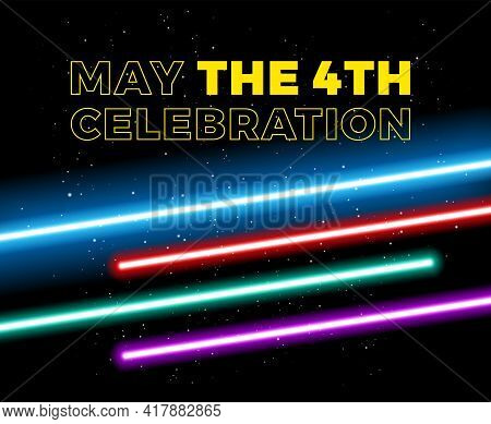 May The 4th Be With You Holiday Celebration Vector Illustration With Yellow Text May The 4th And Blu