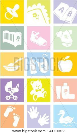 Icon Set - Baby Goods, Items. Illustration