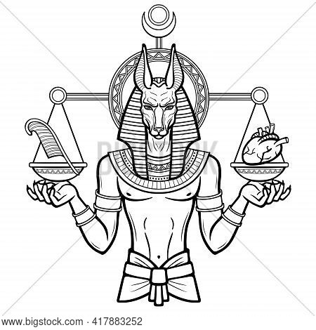 Animation Portrait: Egyptian God Anubis Measures The Human Heart And Pen On Sacred Scales. God Of De