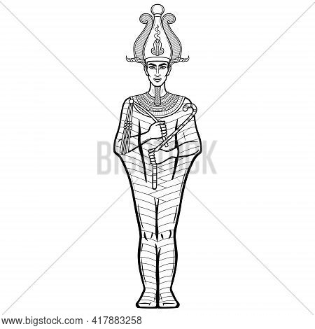 Animation Portrait Egyptian Man N The Crown Holds Symbols Of Power In His Hands. God Osiris. Full Gr