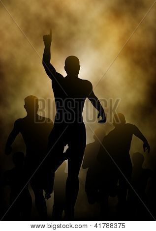 Editable vector illustration of a man celebrating winning a race with smoky or steamy background made with a gradient mesh poster