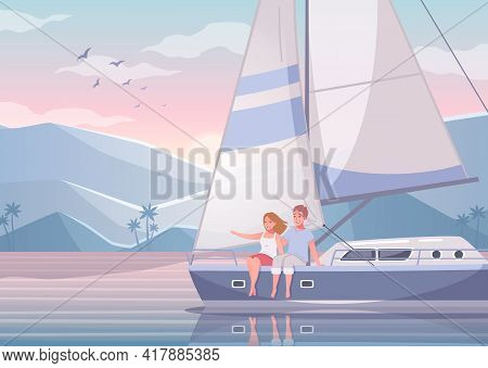 Yachting Cartoon Set With Beautiful Scenery Of Exotic Bay With Couple Of Lovers Sitting On Yacht Vec