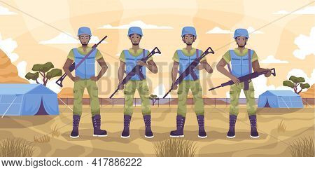 Peacekeepers Guard Flat Concept Four Military Men Standing In A Tent City Vector Illustration