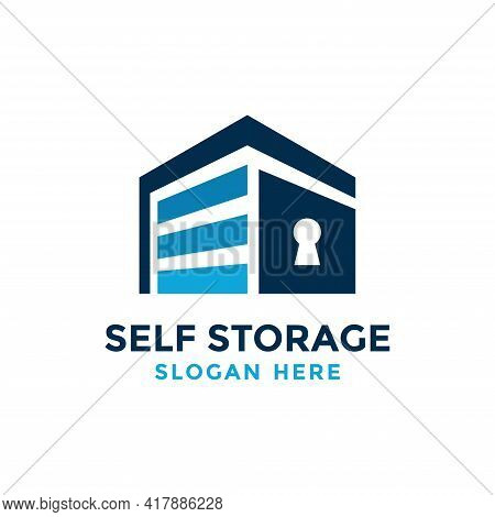 Self Storage Logo Design Template. Safe Storage Garage Vector Illustration. With Concept Of Padlock