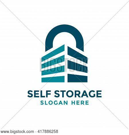 Self Storage Logo Design Template. Safe Storage Garage Vector Illustration. With Concept Of Padlock