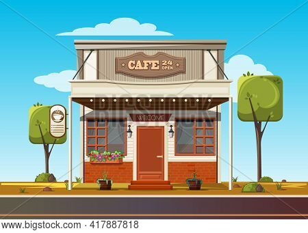 Small Roadside Cafe. Cozy Cafe On The Side Of The Road. Cafe 24 Open. Vector Illustration