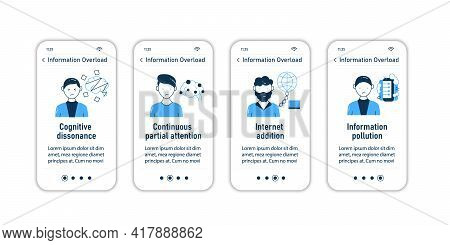 Information Overload Onboarding Mobile App Screens.consists Of Cognitive Dissonance, Partial Attenti