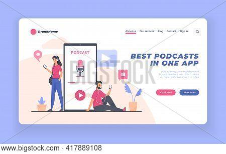 Podcast Listener, Webinar, Online Training, Audiobook Concept. Landing Page Website Banner Vector Te