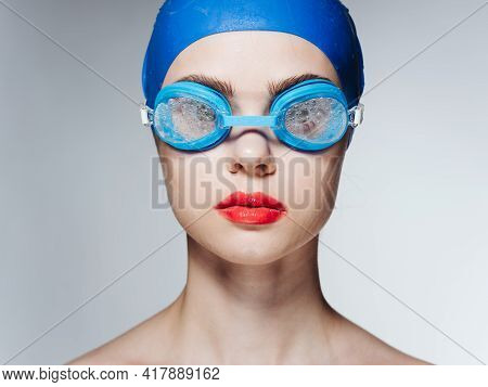 Woman In Glasses And In A Blue Swimming Cap Athlete Athletics Model Naked Shoulders