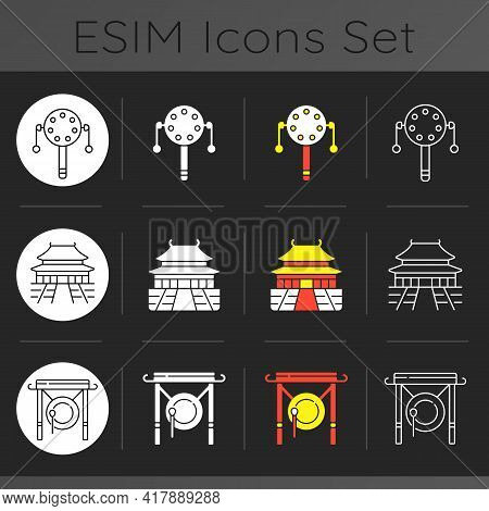 Chinese History Dark Theme Icons Set. Pellet Drum. Forbidden City. Gong For Celebratory Announcement