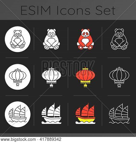 Asia Dark Theme Icons Set. Red Lantern. Big Panda. Junk Ship. Traditions And Culture Of China. Chine