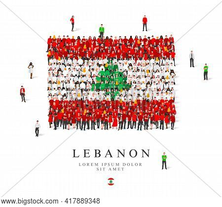 A Large Group Of People Are Standing In White, Green And Red Robes, Symbolizing The Flag Of Lebanon.