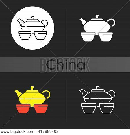 Chinese Tea Set Dark Theme Icon. Kitchen Utensils. Serving Hot Drink. Traditional Chinese Ceremony.