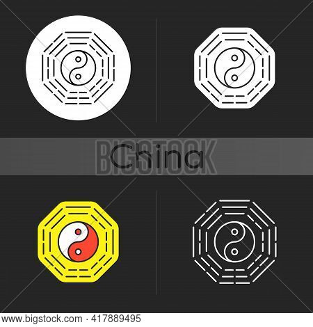 Bagua Dark Theme Icon. Harmony Of Elements. Spirituality And Cosmology. Zen, Feng Shui. Traditional