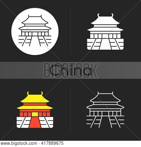 The Forbidden City Dark Theme Icon. Chinese Traditional Ancient Structure. Place For Tourist In Chin