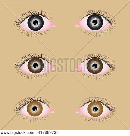 Black, Brown, Light Hazel Eyes On A Beige Background