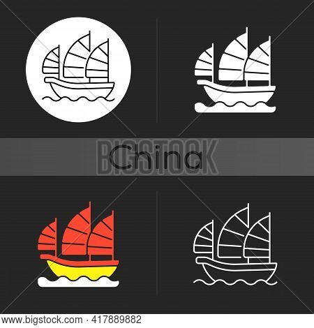 Junk Ship Dark Theme Icon. Sailing On Traditional Boat In Hong Kong. Asian Culture, Eastern History.