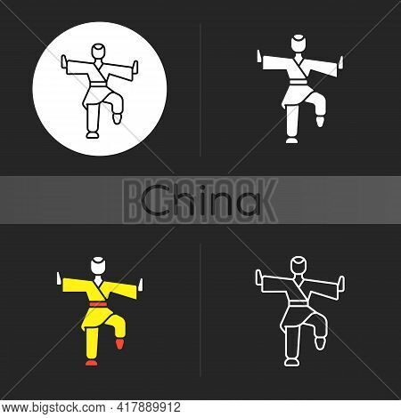 Kung Fu Dark Theme Icon. Martial Arts Training. Karate Class. Traditional Fighting. Chinese Athlete.