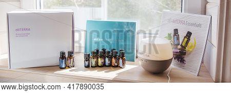 Riga, Latvia - April 8, 2021: Doterra Home Essentials Kit Essential Oils. Natural, Quality Essential